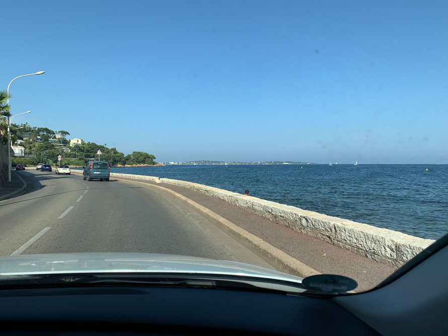 Driving in Southern France along the Mediterranean Sea in August 2020