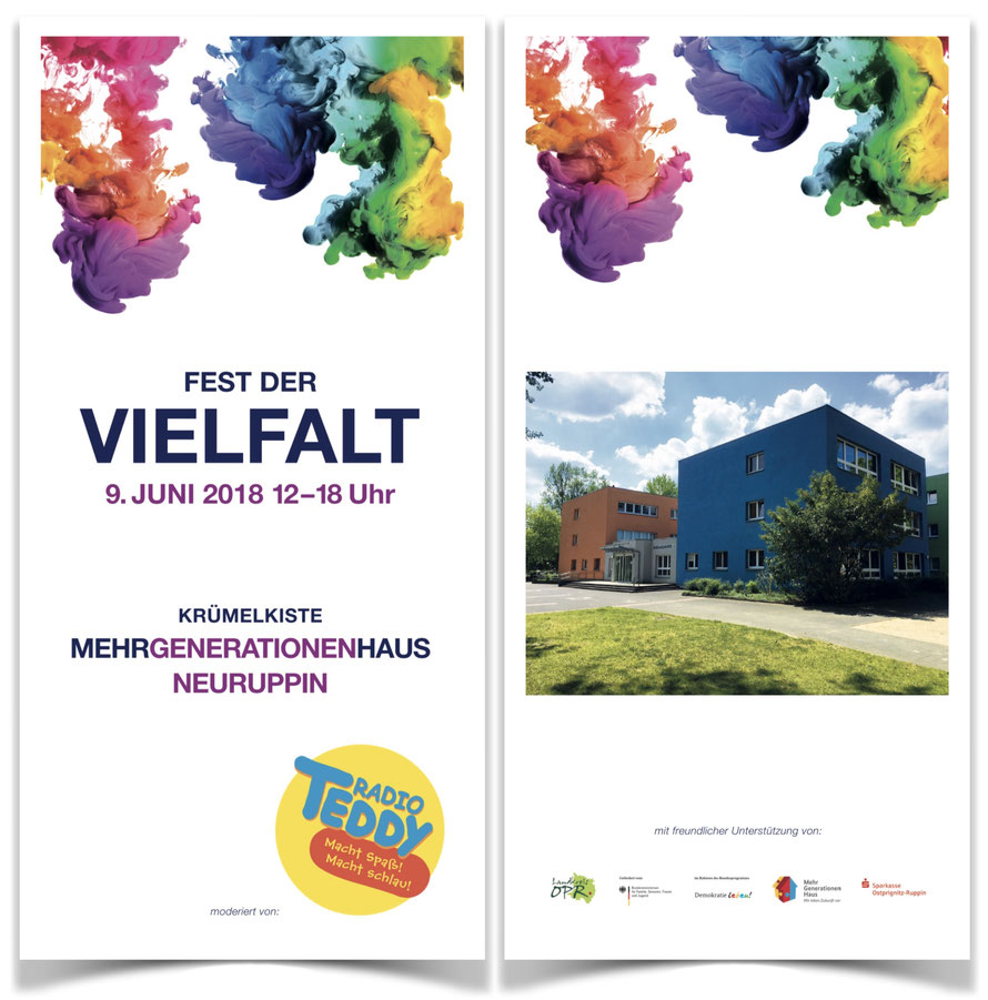 Flyer vom Fest der Vielfalt im MGH Neuruppin am 9.6.2018