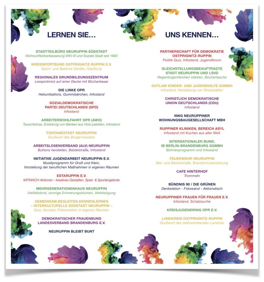 Akteure beim Fest der Vielfalt im MGH Neuruppin am 9.6.2018