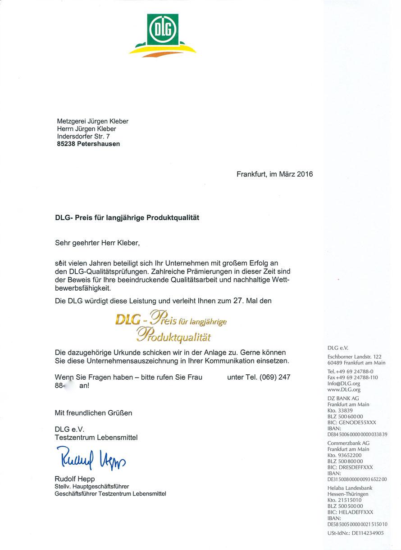 Urkunde DLG-Preis für langjährige Produktqulität