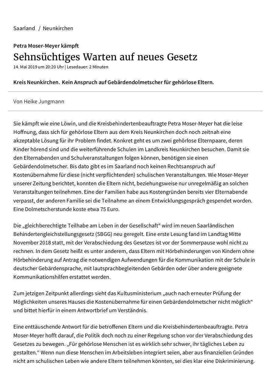 Saarbrücker Zeitung, Lokal Neunkirchen, vom 15. Mai 2019