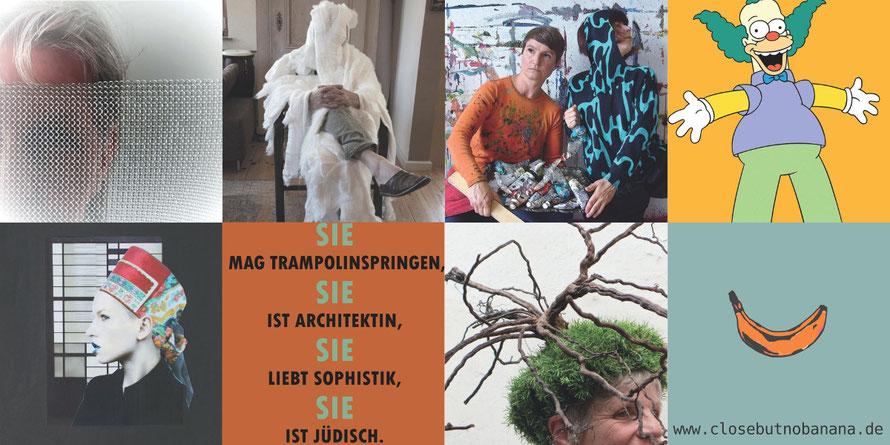 Ausstellung #closebutnobanana 2021 MemoMyzel-Tafeln, Plakat, Kopfbedeckung, Fotocollage