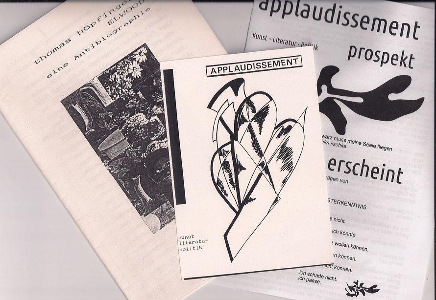 Meine Antibiographie, eine Werbepostkarte und ein Prospekt, 1990 - 2014