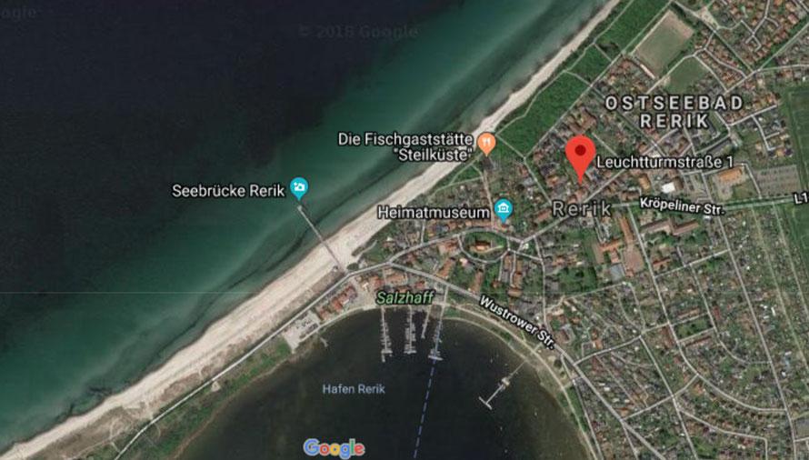Lage der Villa Leuchturm in Rerik an der Ostsee