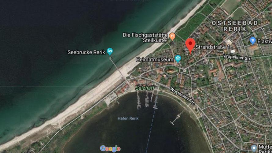Lage der Villa Strand Eins in Rerik an der Ostsee