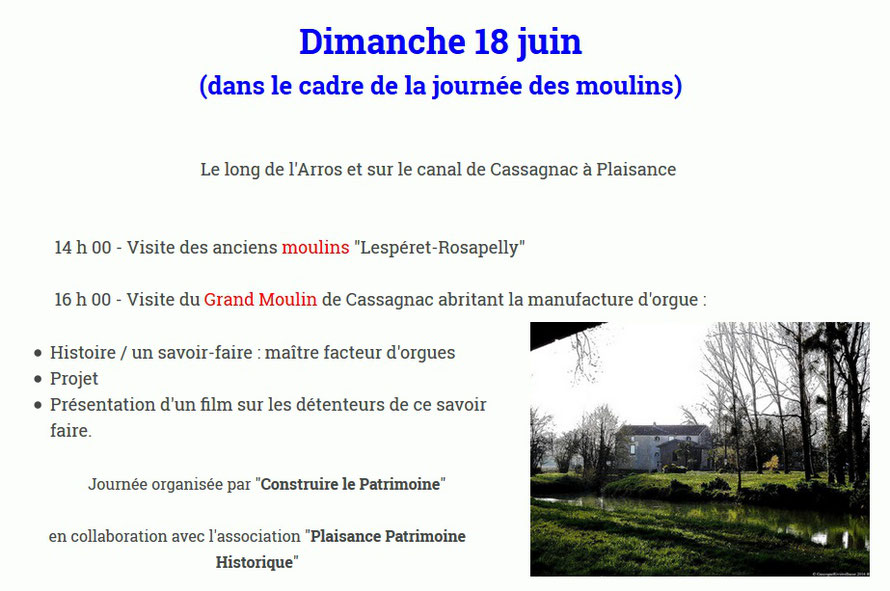 Plaisance Patrimoine Historique Journée des moulins 18 juin 2017