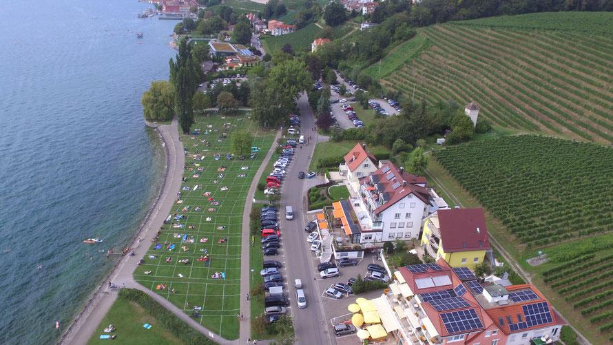 Bild: Seegarten in Meersburg, Ferienwohnungen direkt am Bodensee mit Seesicht