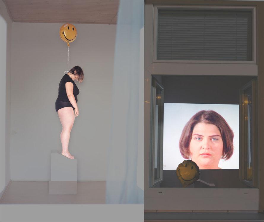 Performance und Videoinstallation, Foto: Christian Messner, Bearbeitung. Veronika Merklein