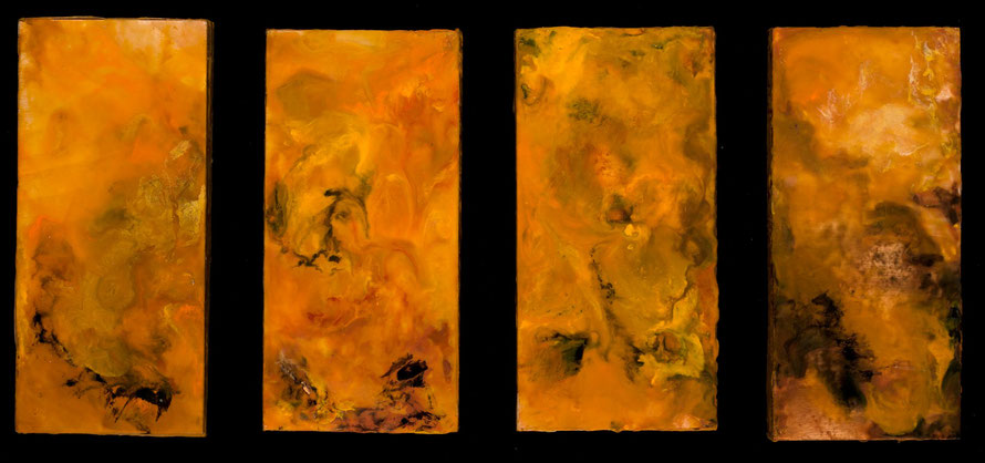 Screen of Amber, 2011, encaustics, each panel 4x8""