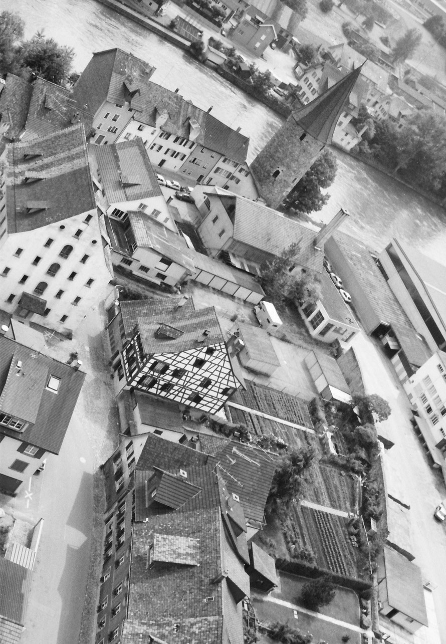 Blick auf die Unterstadt vom Kirchturm der Klosterkirche von 1981