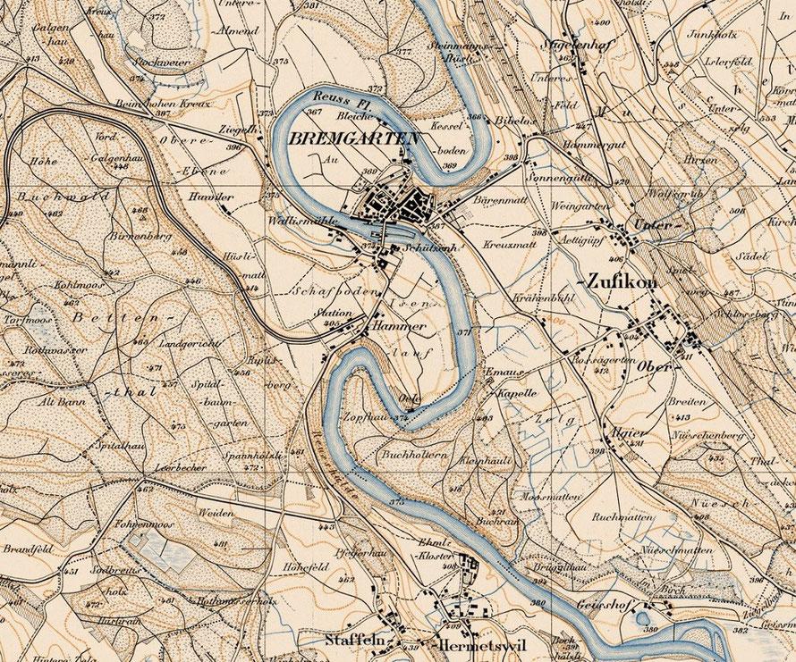 Ausschnitt Siegfriedkarte von 1880