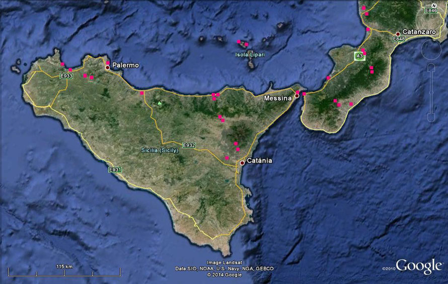 Visited places in Southern Italy & Sicily.