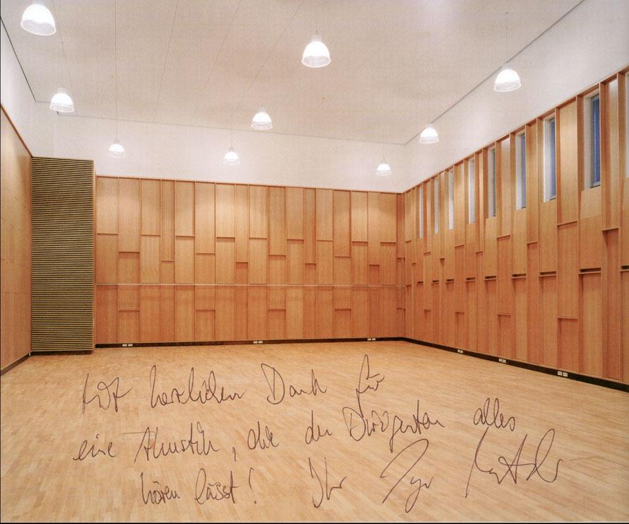 Innenansicht vom Orchester-Probenraum der Hamburgischen Staatsoper