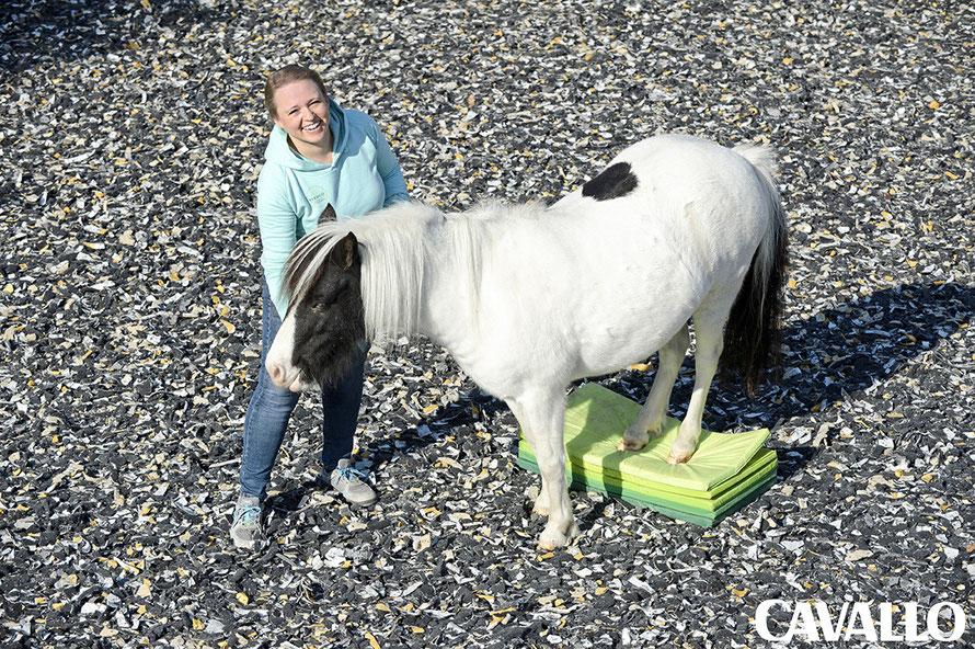 Ergotherapie für Pferde: Mit einfachen Übungen und Tools wie Turnmatten kannst Du das Körpergefühl Deines Pferdes spielend verbessern,