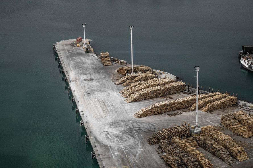 Abnutzungspuren auf dem Frachthafen bei Napier