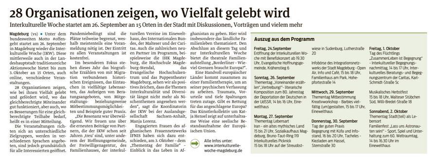 Volksstimme Magdeburg 24.09. 2021
