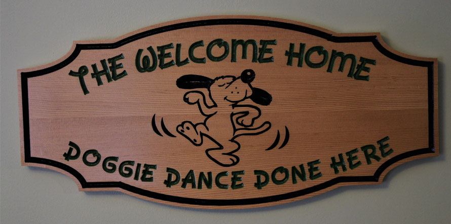 J0005 The Doggie Dance  sign was done in Fir. 2.7 Square Foot with Engraved Artwork by ArtfulCarver.com