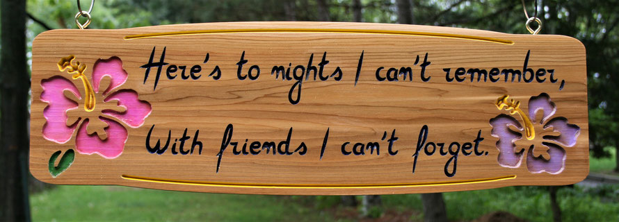 1.3 Square Foot Select Cedar Sign with Engraved Artwork by ArtfulCarver.com