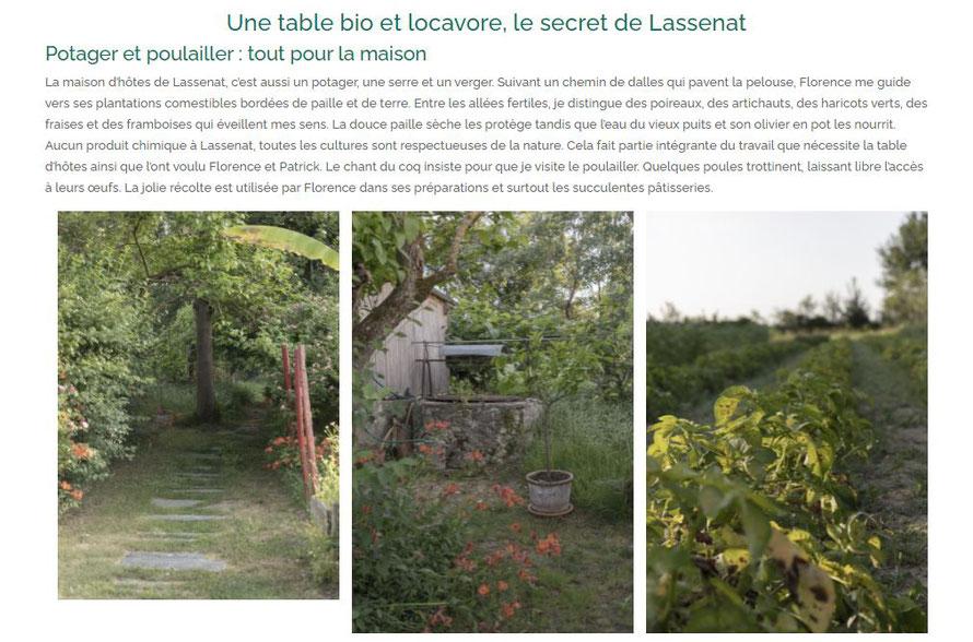Une table bio et locavore, le secret de Lassenat. Potager et poulailler : tout pour la maison La maison d'hôtes de Lassenat, c'est aussi un potager, une serre et un verger.