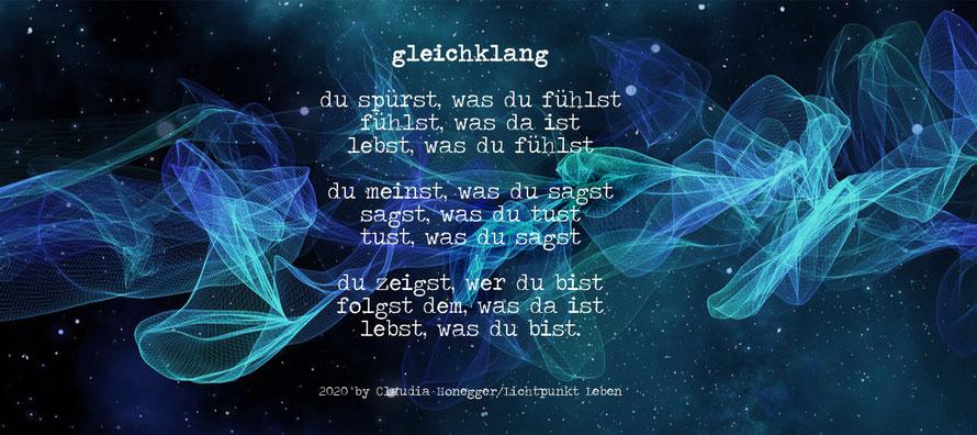 Gleichklang, Gedicht von Claudia Honegger/Lichtpunkt Leben, Schwingungen, Herzfrequenzen, Energien
