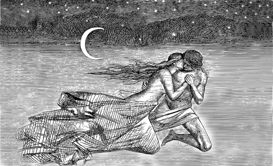 Frau und Mann im Mondlicht am Wasser, Bild zu Blog-Artikel die verwaiste krone - von der sehnsucht nach dem du, der verlorene zwilling, ur-trauma