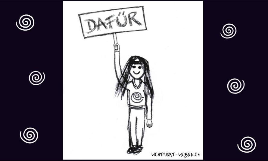 Cartoon Mensch mit Schild mit der Aufschrift Dafür, Bild zu Blog Artikel von Lichtpunkt Leben, Ich bin dafür