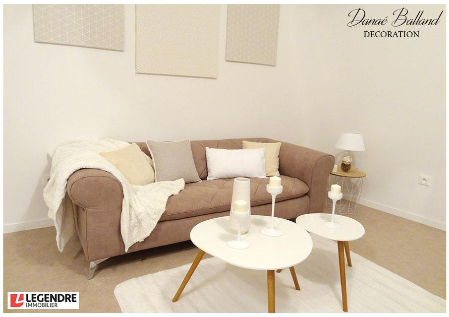 Appartement témoin séjour promoteur Danaé Balland décoration