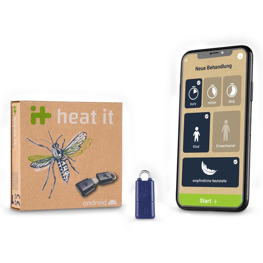 Heat_it ist ein medizinisches Produkt zur Linderung von Juckreiz und Schmerz. Durch die Wärmebehandlung schüttet der Körper weniger Histamin aus, dadurch bleibt der Juckreiz aus. Schwellungen und Schmerzen werden gelindert.