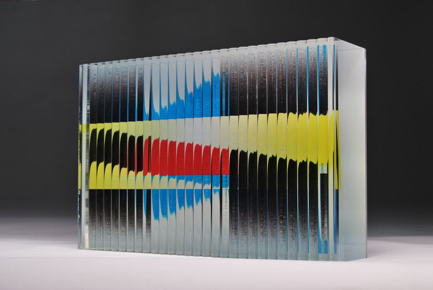 Shy | cut, ground, glued, printed, hand polished glass | 30 x 20 x 7 cm | 2015 | ●