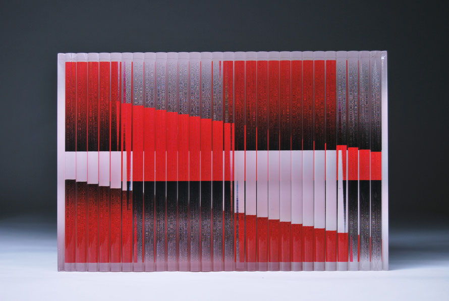 Ostinato III | cut, ground, glued, printed, hand polished glass | 30 x 20 x 7 cm | 2015
