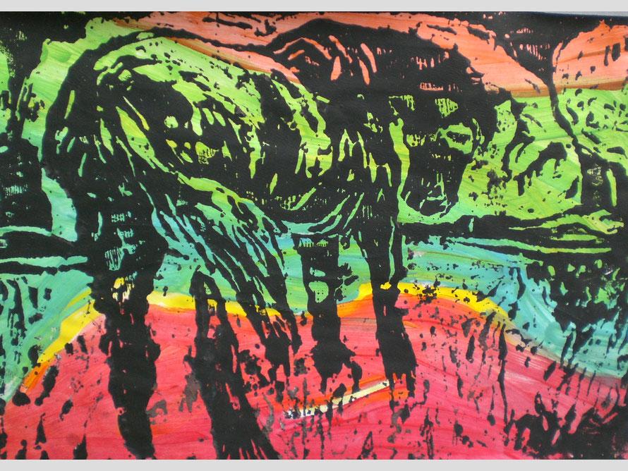 Pferd träumt vom Regenbogen Mon9otypie DIN A 4