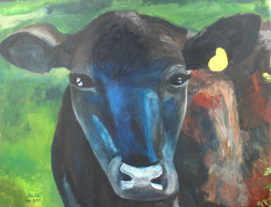Die Kuh ist neugierig, Öl auf Leinwand, 100 X 100 cm
