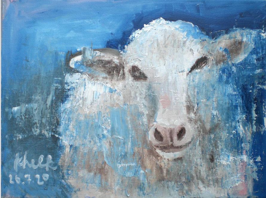 Der Traum des Schafes Öl auf Leinwand, 40 X 50 cm