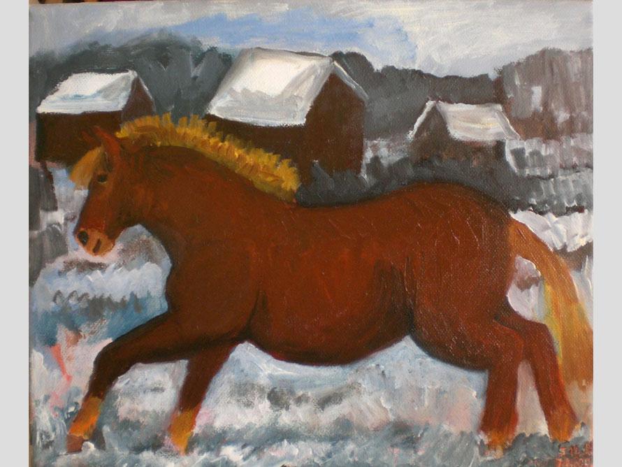 Fina im Schnee, 35 X 40 cm, Öl auf Leinwand
