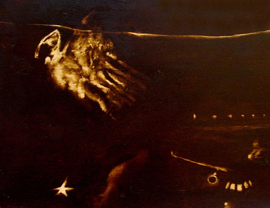 """""""Il terrorista K-S1"""" (2009) olio su legno, cm (30 x 40)"""