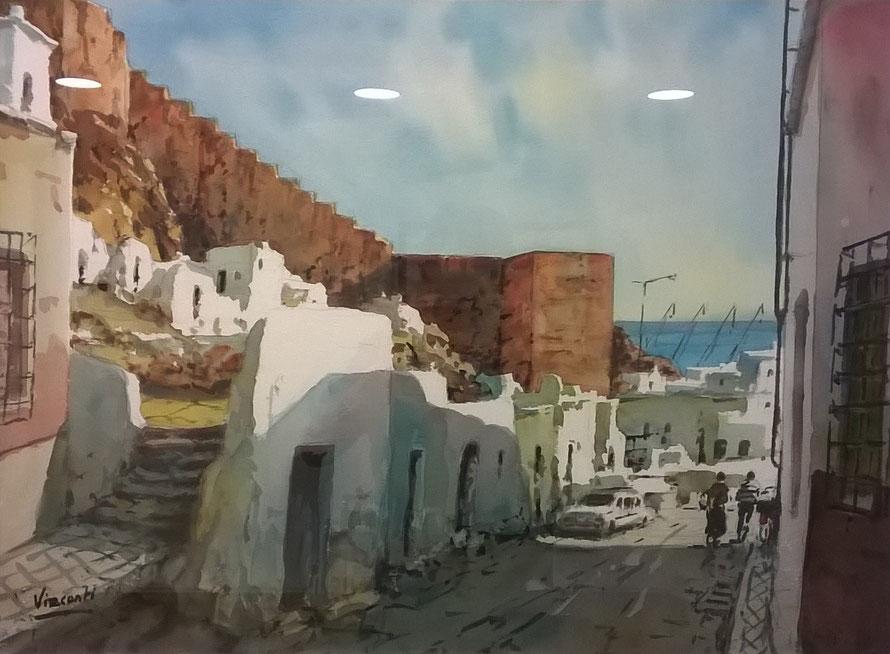 """""""Chanca Almería"""", año 2015, acuarela sobre papel, 75 x 55 cm."""