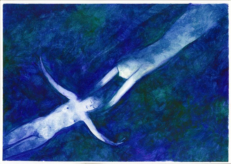 Azul. Acuarela sobre papel, 29,7 x 42 cm.