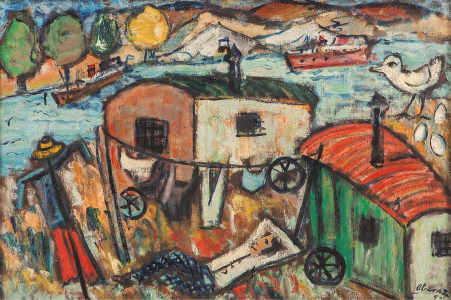 BORDES DEL SENA, 1950 Óleo sobre lienzo, 65 x 92 cm.