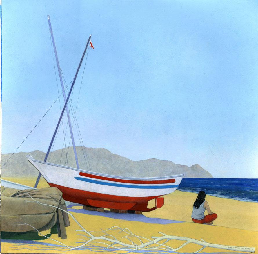 Barca, chica y tronco. Acrílico sobre papel, 50 x 50 cm.
