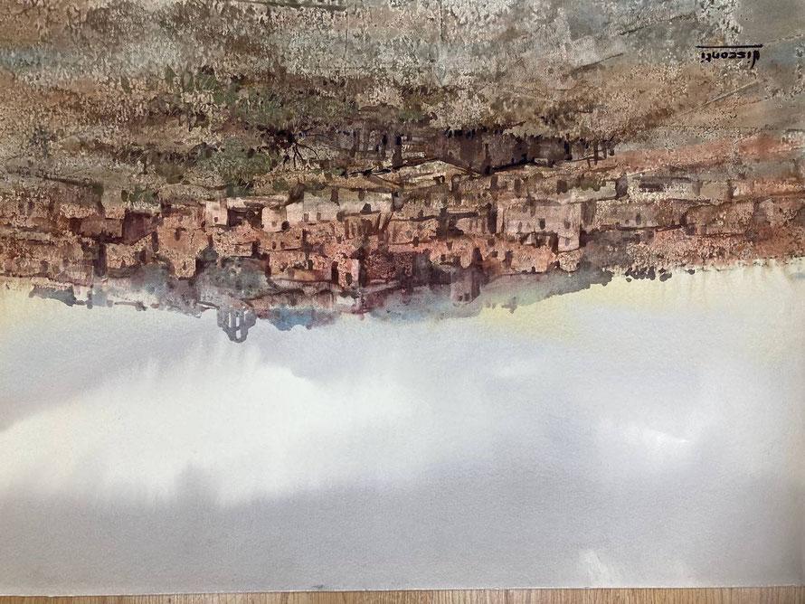 """""""Pueblo de montaña"""", 1980, acuarel sobre papel 70x55cm."""