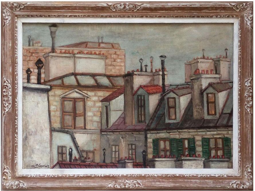 TEJADOS DE MONTPARNASE, öleo sobre tela, 1954, 60 x 82 cm.