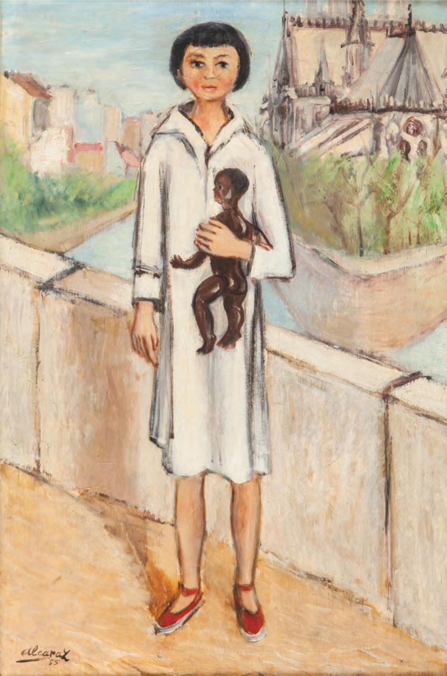 NIÑA CON MUÑECO, 1955, Óleo sobre lienzo, 85 x 54 cm.
