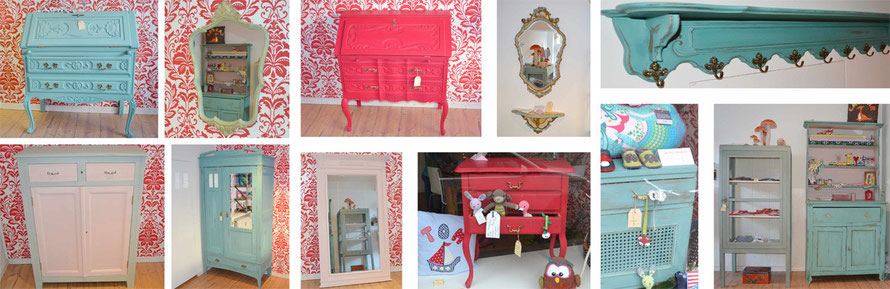 Aud dem Foto sieht man ganz viele Beispiele für Möbel, die mit der Kreidefarbe Annie Sloan Chalk Paint gestrichen und gestaltet wurden.