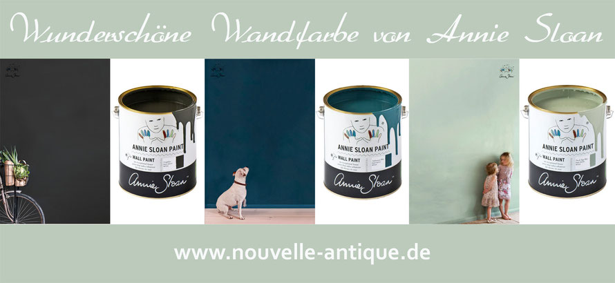 Auf dem Foto wird die Wandfarbe von Annie Sloan präsentiert. Man sieht 3 unterschiedliche Farbdosen.