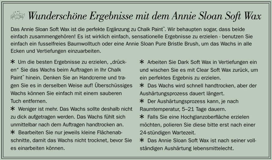 In dem Bild wird erklärt, wie das Soft Wax hell von Annie Sloan aufgetragen und benutzt wird