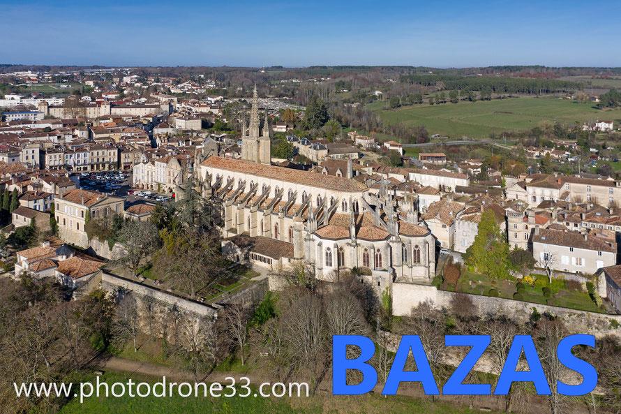 Cathédrale de Bazas - vue aérienne