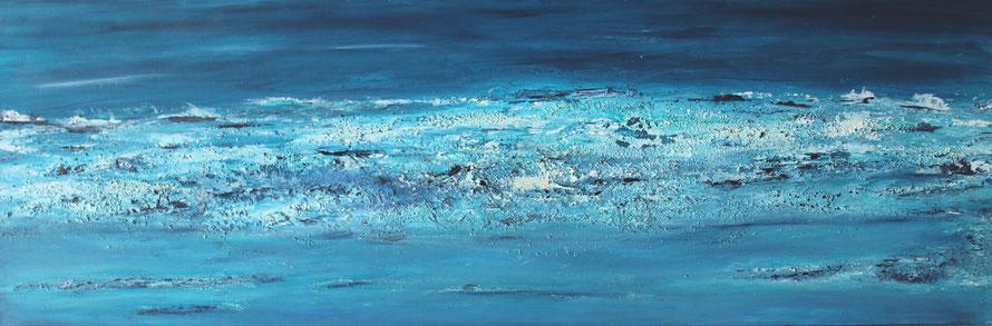 """Atoll I"", Acryl auf Leinwand, 40x120 cm"