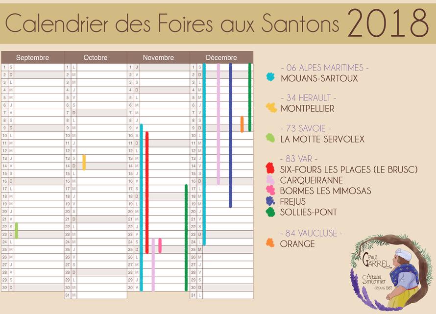 calendrier des foires aux santons de la saison 2018 - Paul Garrel artisan santonnier