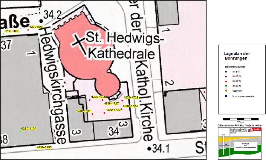 Der Lageplan der Bohrungen von der Senatsverwaltung zeigt deutlich, dass rings um die Kathedrale keine Bohrungen erfolgten.
