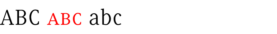 Genuine small caps of Serif, Sans and Slab are drawn with the same line weight as their companion letters.